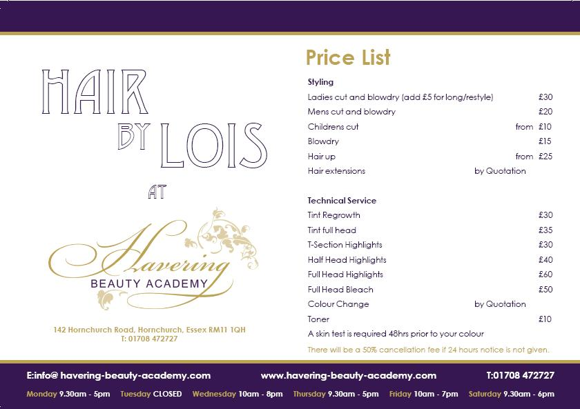 Price list havering beauty academyhavering beauty academy for Academy for salon professionals price list