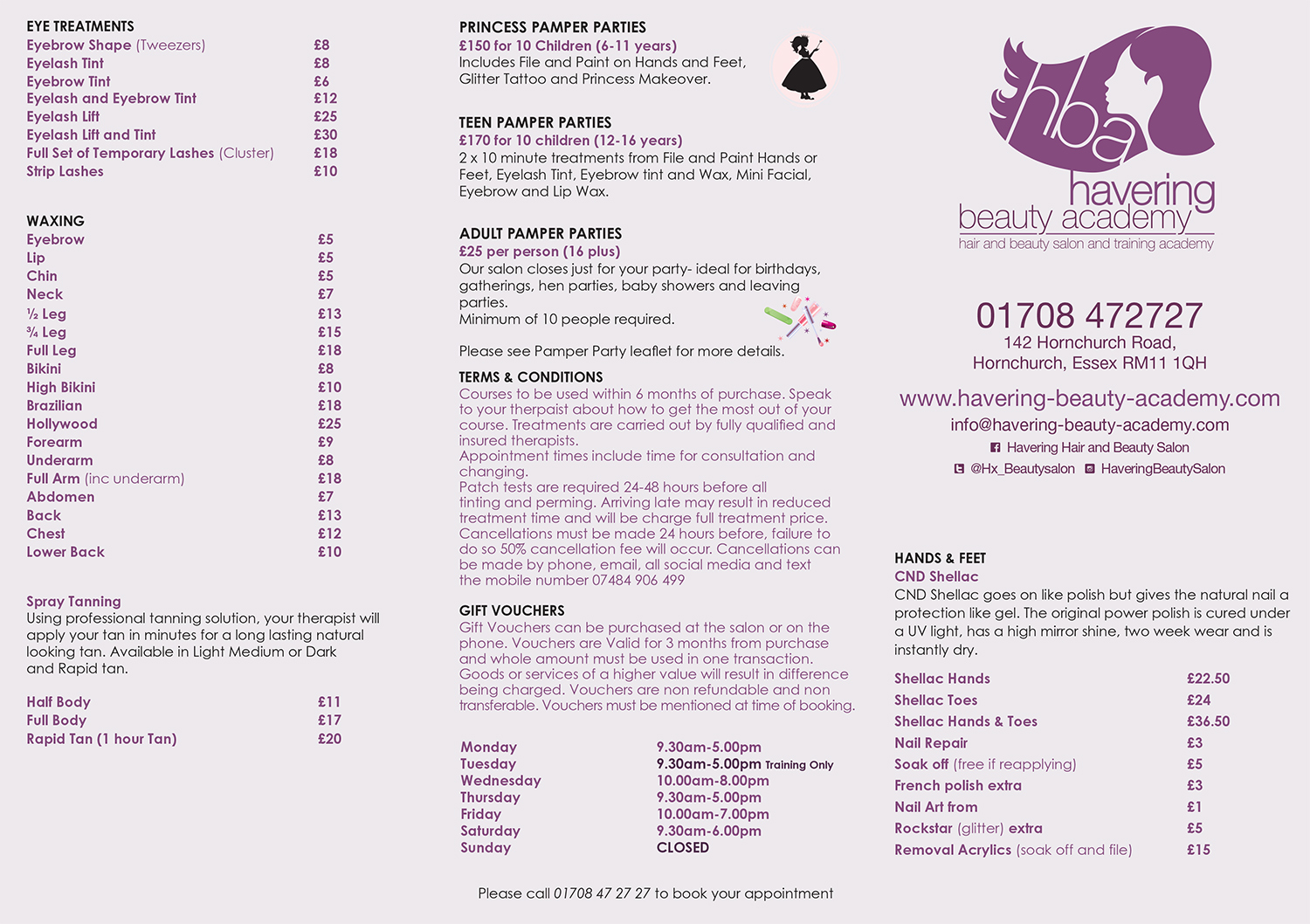 Price list havering beauty academyhavering beauty academy for Academy for salon professionals price list