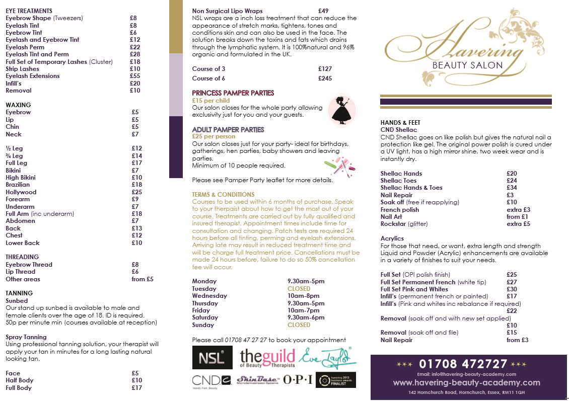 Price list havering beauty academy for Academy for salon professionals price list