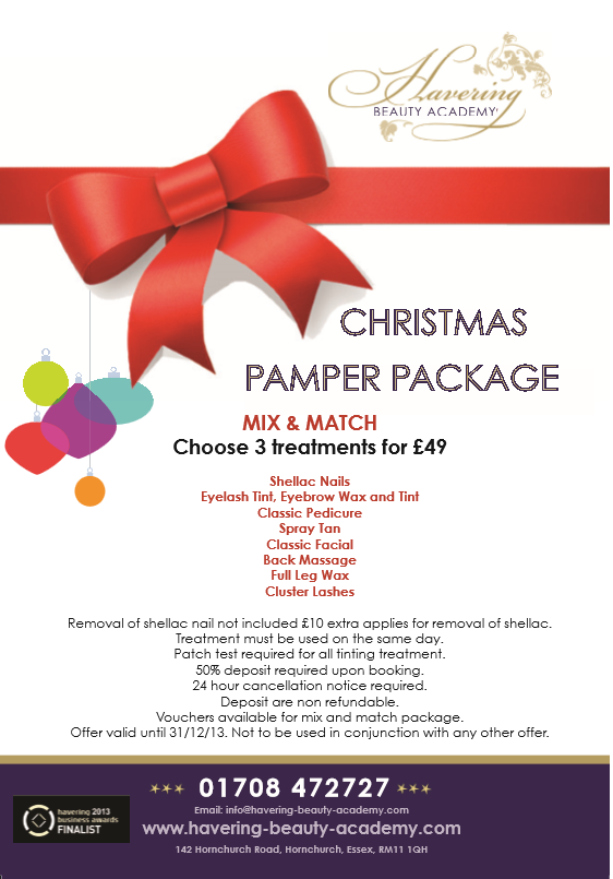 Christmas pamper package 2013 havering beauty for 12 days of christmas salon specials